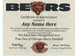 CHICAGO BEARS  NFL FAN  ~ APPRECIATION CERTIFICATE ~ FREE SHIPPING  ~MAN CAVE