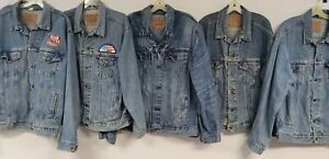 LOT OF 11 LEVIS DENIM JACKETS MENS small e SOME ARE VTG USA MADE BLUE DISTRESSED