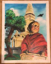 Original Painting Gemälde Handsigned Buddha Tempel Temple Handsigniert