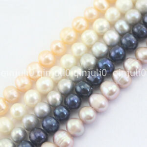 """Natural Multicolor 7-8mm Round Freshwater Pearl Jewelry Making Loose Beads 15"""""""