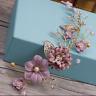 Wedding Bridal Vintage Gold Leaf Flower Pearl Tiara Headpiece Hair Piece ER