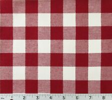 """Red Ivory Checkered Cotton Canvas Fabric Country Picnic Patriotic 64"""" x 54"""""""