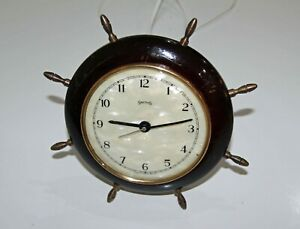 SMITHS VINTAGE SHIPS WHEEL MARITIME ELECTRIC CLOCK. Working