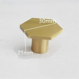 6X Hexagon Brass Cupboard Pulls Drawer Door Knobs Kitchen Cabinet Gold Handle UK