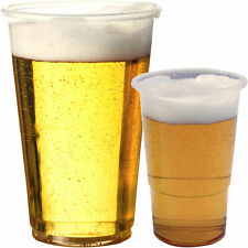 100 Clear Strong Plastic Pint Disposable BBQ Beer Glasses Cups Tumblers