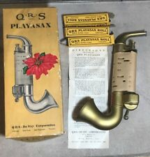 Vintage QRS Playasax Toy with 4 Song Rolls Early 1900's Saxaphone BK