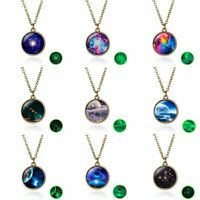 Glow In the Dark Universe Galaxy Nebula Space Ball Glass Pendant Necklace Party