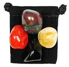WISE DECISIONS Tumbled Crystal Healing Set  = 4 Stones +Pouch + Description Card