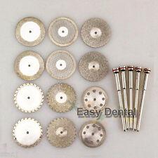 12 Dental Diamond Polishing Wheel Saw Disc Cutter + 5 HP Shank Mandrel 2.35mm