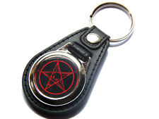 SIGIL OF BAPHOMET Church of Satan Sign Quality Leather and Chrome Keyring