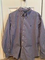 Ralph Lauren Polo Long Sleeve Shirt Button Mens 16 1/2 Blue White Plaid