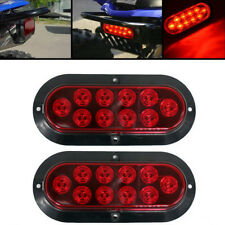 "Red Oval 6"" SURFACE MOUNT LED Brake Stop Turn Tail Light Trailer Truck 2PCS"