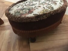 Vintage style tapestry fabric cream brown oval low small Stool footstool gc