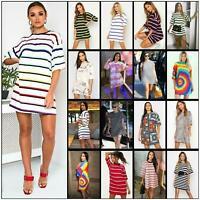 Plus Size Womens Stripe Printed Baggy Oversized Boyfriend T-Shirt Dress Top 8-22