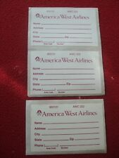 AIRLINE BAGGAGE STICKERS X 3 AMERICA WEST AIRLINES 1980'S / 90'S VINTAGE