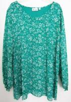 QVC Denim & Co.Knit Lined Pullover Top Aqua White Floral  XL 1X 18 / 20
