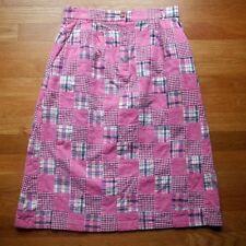ORVIS Patchwork Madras Plaid Skirt 8 Cotton Preppy Pink NEW