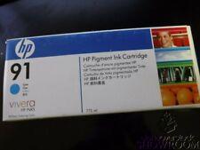 New Sealed Box Genuine OEM HP 91 C9467A Cyan Pigment Ink Cartridge DesignJ Z6100