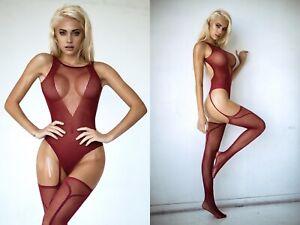 Bodysuit Body Stocking Lingerie Mesh Fishnet Garter Sexy Stretch ONE SIZE 190