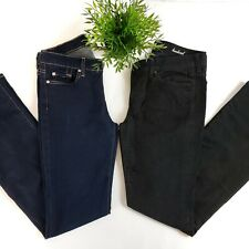 Lot of (2)  7 For All Mankind Skinny Bootcut Dark Wash Black Womens Jeans 32x33