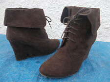 NAUGHTY MONKEY CHOCOLATE BROWN  FAUX SUEDE LACE UP WEDGE ANKLE BOOTS-SZ 10 VGC