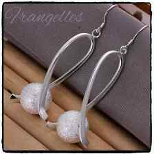 925 Sterling Silver Ball Twisted Drop Dangle Hook Earrings Gift