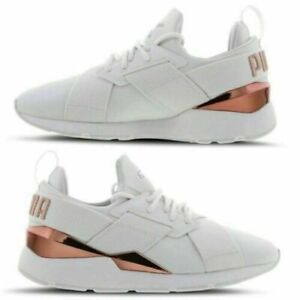 Womens Puma Muse Satin Metal Trainers White-Rose Gold all sizes