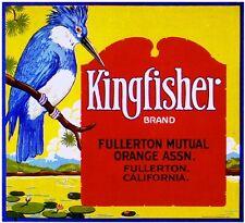 Fullerton Orange County Kingfisher Bird Orange Citrus Fruit Crate Label Print