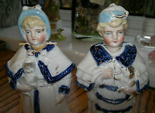 Victorian Pair of Staffordshire Pottery China Nodding Children Head Figures