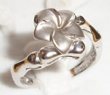 10MM Plumeria Flower 14K White Gold 3.5g 6.5 Ring Hawaiian Hawaii Jewelry