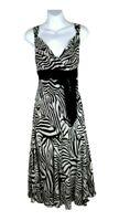 Per Una M&S dress 14 L black white zebra print midi bow Fit Flare summer VGC