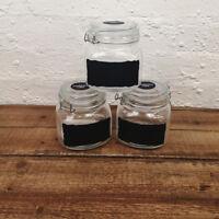 Set Of 3 Small Glass Deli Airtight Clip Top Vintage Storage Jars Pot Chalk Board