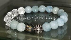 Sterling Silver Dragon Beryl A Aquamarine Quartz Gemstone Yoga Stretch Bracelet