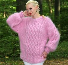 SUPERTANYA PINK Mohair Sweater Fuzzy Hand knitted Mohair Thick Aran Pullover
