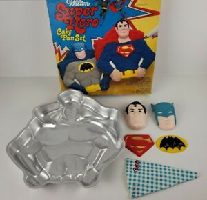 Vintage Wilton Super Hero Cake Pan Set Batman Superman Original Box Piping Bag