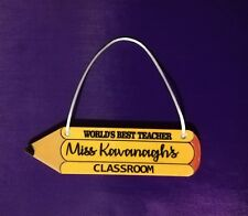 Personalsied Pencil Shape Classroom Plaque