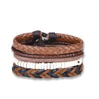 Fashion Bracelet Beads Leather Mix Cuff Beaded Bracelet Set for Men Women