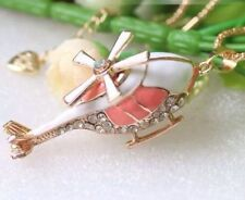 Helicopter Pendant Necklace Chain Gold White Clear Rhinestone Pink