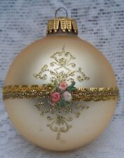 Gold Satin Gold Glitter Lace Brocade West Germany Victorian Christmas Ornament