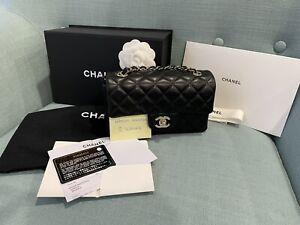Chanel Series 30 Black Lambskin Light Gold Hardware Mini Rectangular Flap Bag