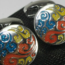 Multi Coloured Silver Cufflinks - weddings special ocasions and gifts