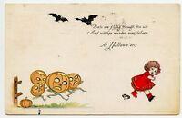 Halloween Bats & Witches Vintage  Postcard