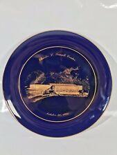 Vtg 1985 Miniature Mini Cobalt Blue Gold Trim Plate Charles L.Jewall Center