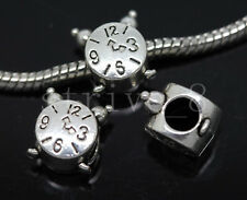 8/30/150pcs Tibetan Silver big Hole  alarm clock  European Jewelry Charms Beads