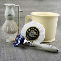 Classic Men's Shaving Set Compatible Beard Razor White Badger Brush Soap Mug