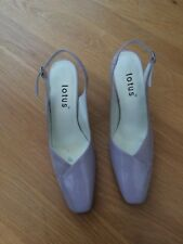 LOTUS  Shoes Womens Pale Lilac Square Toe Slingback Shoes Leather/Suede Mix Size