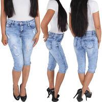 Damen Sommerhose Capri Shorts Bermuda 3/4  Jeans Kurze Hose Stretch Hüftjeans