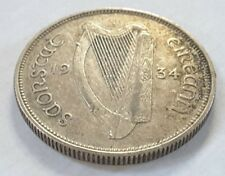 1934 Irish Florin 2 shilling Eire 75% Silver rare coin with low mintage (ref 1)