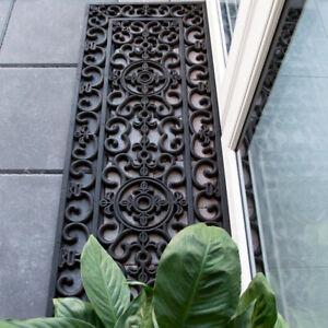 Extra Long Rubber Ornate Mat for Outdoor Door Step Mat | Narrow Classic Non Slip