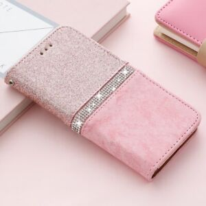 Glitter Diamond Leather Flip Wallet Case Cover For iPhone 13 12 11 XR 7 8 SE 6S